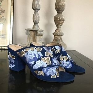 Sole Society blue embroidered heeled sandals